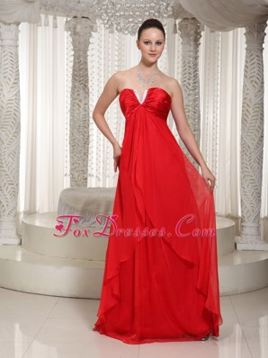 Red Empire V-neck Chiffon Maxi Evening Dresses 2013