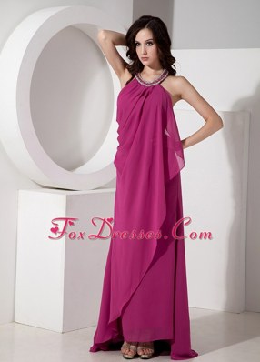 Fuchsia Empire Beading Maxi Evening Dresses Halter Chiffon