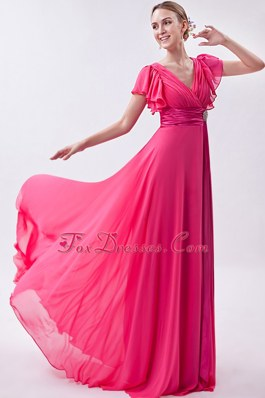 V-neck Brush Train Chiffon Hot Pink Empire PromMaxi Dresses