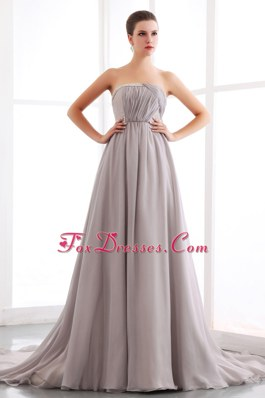 Grey PromMaxi Dresses A-line Strapless Court Train Chiffon
