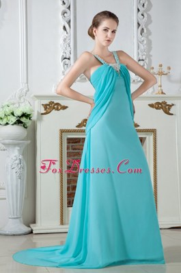 Straps Brush Train Chiffon Turquoise Empire Prom Dresses