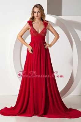PromMaxi Dresses Wine Red A-line Straps Brush Train Beading