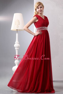 V-neck Floor-length Wine Red Chiffon Beading Prom Dresses