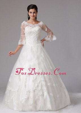A-line V-neck Wedding Dress With Lace In 2013
