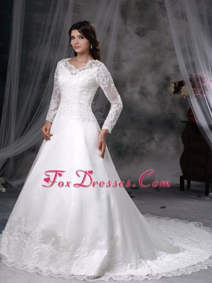 A-line V-neck Wedding Dress Chapel Train Satin