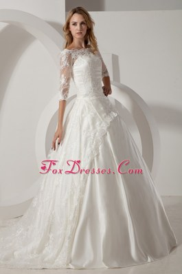 A-line Scoop Wedding Dress Chapel Train Taffeta