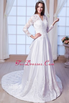 V-neck Satin and Lace Wedding Dress with Chapel Train