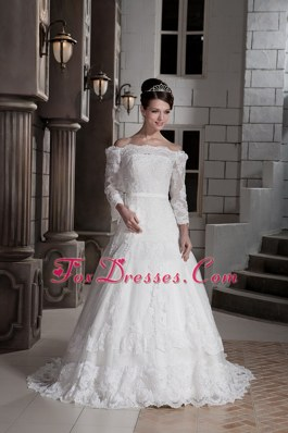 Princess Brush Train Tulle Appliques Wedding Dress