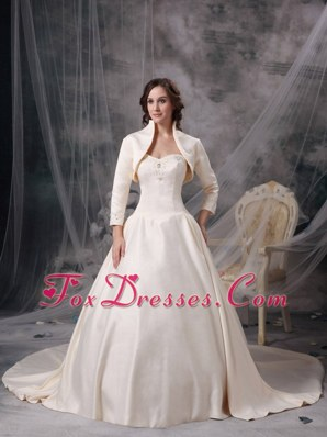 Champagne Sweetheart Chapel Train Satin Wedding Dress