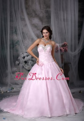 Sweetheart Chapel Appliques Hand Flowers Wedding Dress