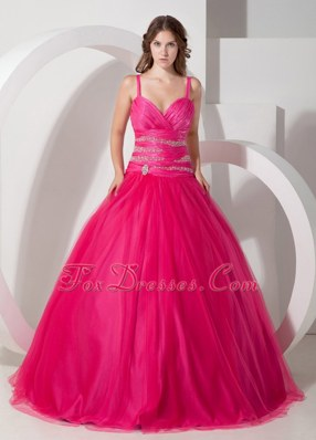 Spaghetti Straps Tulle Beads Quinceanera Dress Hot Pink