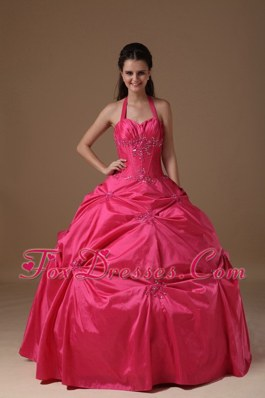 Halter Quinceanera Dress Coral Red Halter Taffeta Beading