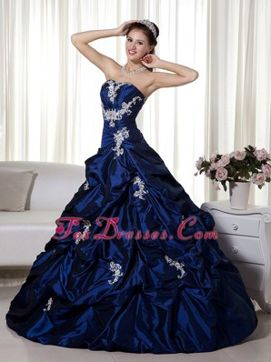 Strapless Navy Blue Quinceanera Dress Taffeta Appliques