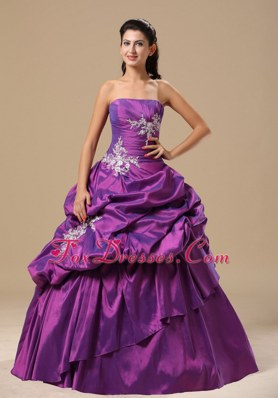 2013 Prom Pageant Dress Purple Appliques Strapless Pick-ups