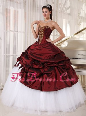 Sweetheart Burgundy and White Appliques Quinceanera Dress