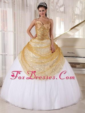Gold and White Halter Top Sequin Quinceanera Dress