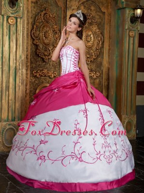 Embroidery White and Pink Quinceanera Dress Strapless Pick-ups