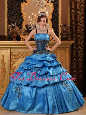 Blue Straps Appliques Pick-ups Quinceanera Dress