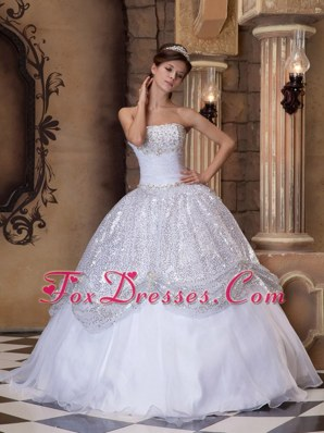 White Sequins Strapless Pick-ups Quinceanera Dress