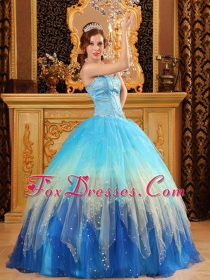 Blue Sweetheart Beading Organza Quinceanera Dress