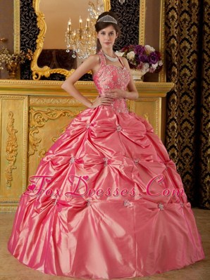Halter Waltermelon Quinceanera Dress Tafftea Pick Ups