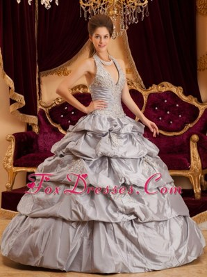 Halter Gray Taffeta Appliques Quinceanera Dress discount