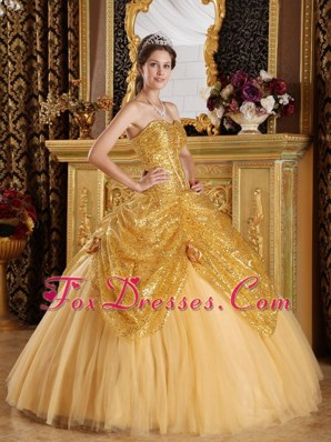 Gold Sweetheart Sequined and Tulle Quinceanera Dress