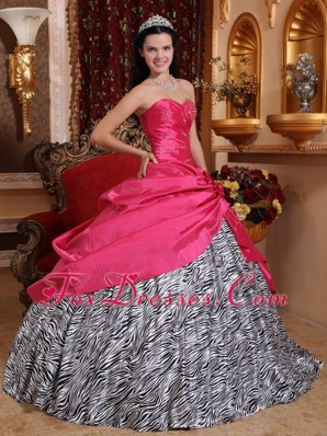 Hot Pink Zebra Beading Quinceanera Dress Handmade Flower