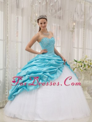 Aqua Blue and White Tulle Beading Quinceanera Dress Pick UPs