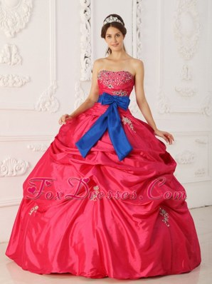 Blue Bow Coral Red Quinceanera Dress Taffeta Beading 2013