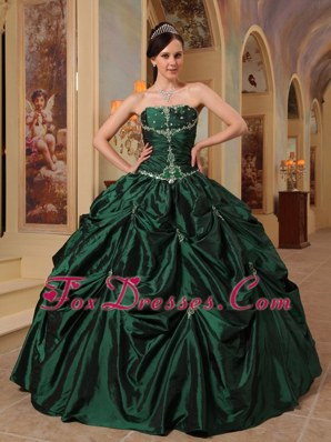 Taffeta Quinceanera Dress Hunter Green Strapless Beading
