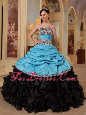 Zebra Blue and Black Quinceanera Dresses Sweetheart Ruffles