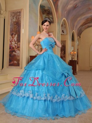 Sequins Aqua Blue Sweet 16 Quinceanera Dresses Appliques