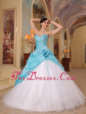 Aqua Blue and White Beaded sweet sixteen dresses A-line