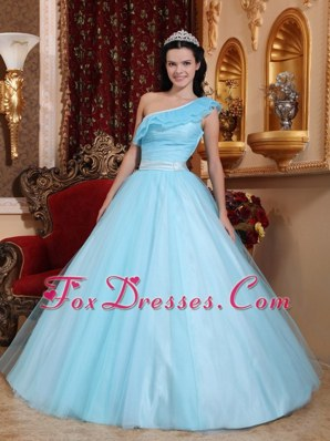 One Shoulder Light Blue sweet 15 Quinceanera dresses Tulle A-line