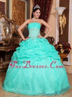 Turquoise Strapless Pick-ups Quinceanera Dresses Organza Appliques