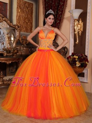 Orange Red Spaghetti Straps V-neck Beading Quinceanera Dresses