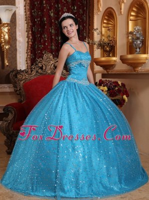 Spaghetti Straps Blue Sweet 15 Dresses Sequined Beading