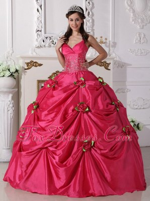 Spaghetti Straps Hot Pink Beaded Quinceanera Gowns Handmade Flowers