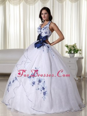 Blue and white Halter Sweet 16 Dresses Belt Embroidery