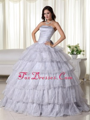 Gray Tiered Organza Ruched Quinceanera Dresses Strapless
