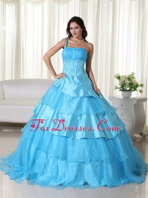 One Shoulder Aqua Blue Beading Quinceanera Dresses Layered