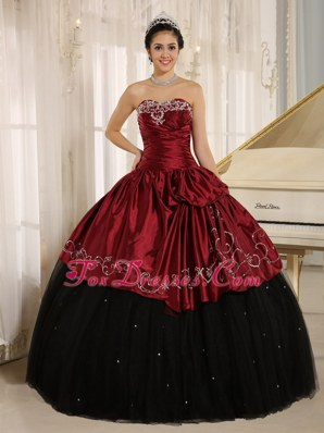 Stunning Black and Wine Red Custom Made Quinceanera Gown