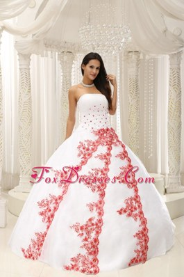 Beautiful 2013 White Quinceanera Dress Red Embroidery Sleeves