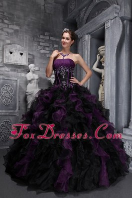 Exclusive Drak Purple and Black Appliques Quinceanera Dress Ruffles