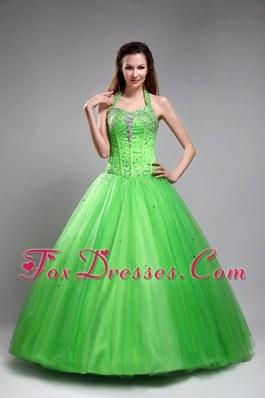 2013 Green Halter Quinceanera Dress Tulle Beading Designer