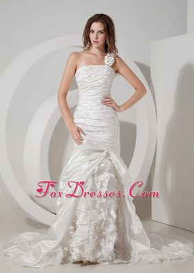 Mermaid One Shoulder Wedding Dress Court Train Ruch