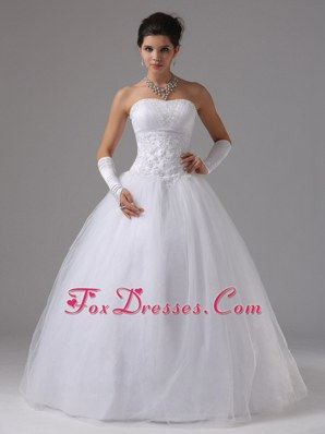 A-line Wedding Dress With Lace Decorate Waist Beraded