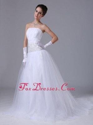 Beaded Decorate Waist Tulle Strapless A-Line Wedding Dress