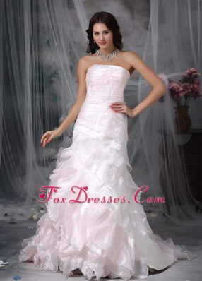 Cute A-line Strapless Brush Train Ruch Wedding Dress